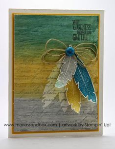 Gesso Feathers by StampinFlo - Cards and Paper Crafts at Splitcoaststampers