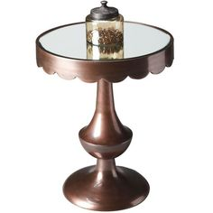 Scalloped Side Table with Mirror Top.