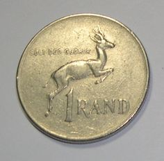 South Africa One Rand (R1) Coin 1977 - Springbok / Coat of Arms