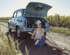 Field, heat, girl and car. от David Dubnitskiy