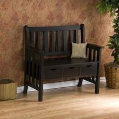 @Overstock - This traditionally styled black country bench includes a wide, comfortable seat and backboard as well as three storage drawers for added convenience. You can use this sturdy hardwood bench in any room whenever you need some extra seats.http://www.overstock.com/Home-Garden/Hillside-Black-Country-Bench/5299262/product.html?CID=214117 $169.99