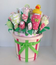 Custom Baby Gift for Infant Girl, Premium Baby Shower Clothing Bouquet made from Onesies, layette items, burp cloths, New Baby Gift Basket