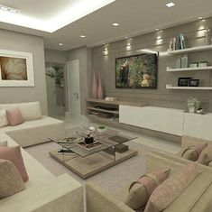 Cozy Living Room Ideas for Small Apartment - The Urban Interior Living Room Tv, Cozy Living Rooms, Living Room Modern, Home And Living, Living Room Designs, Tv Wall Ideas Living Room, Small Living, Living Room Spotlights, Modern Wall