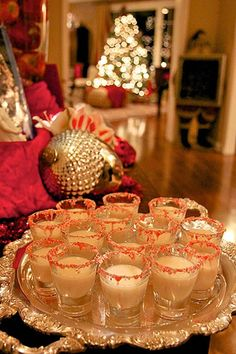 Christmas drinks - #peppermint dipped glasses! Remember to visit www.sealedbysanta.com for your letter from Santa!