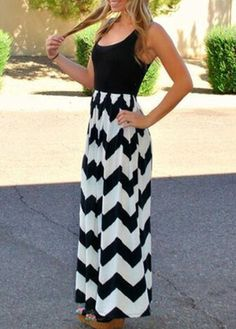 High Quality Zigzag Pint Round Neck Maxi Dress For Summer on Luulla