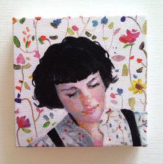 Mundo imaginario / Jenny / Tiny lona impresión - arte de la pared - flores - flor-cara señora PRINT-de la lona del colgante de pared