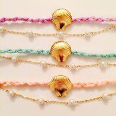 pastel shell bracelet♡パステルカラーシェルブレスレット by coconashop アクセサリー ブレスレット