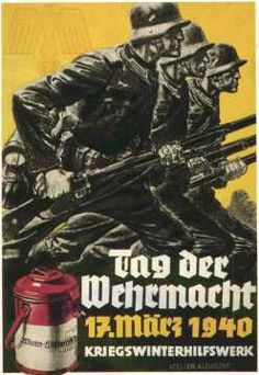 "Nazi WWII poster, as part of the Kriegswinterhilfswerk, ""Tag der Wehrmacht [am] 17 März 1940"" (Wehrmacht Day)"