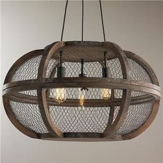 Can't you see this incredible chandelier in our space? The industrial details of this chandelier feel modern, but the chicken wire brings the farm inside and gives us a piece that is both bohemian and sophisticated. #LGLimitlessDesign #Contest