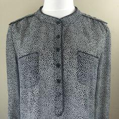 Cynthia Rowley Woman's Half Button Black Blouse Sz Small | eBay