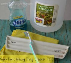 Frugal Non-Toxic Heavy Duty Cleaner.  Cleans things that store bought cleaners wouldn't touch.  Also great as a toilet bowl cleaner and no nasty fumes.
