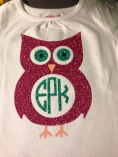 Personalized owl shirt with monogram by MissSophiesBoutique