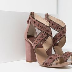 Image 3 of LASER-CUT LEATHER HIGH HEEL SANDALS from Zara