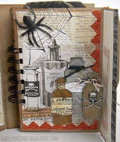 Stamptramp: Pop 'n Cuts Mini Halloween Album Halloween Mini Albums, Halloween Scrapbook, Halloween Items, Halloween Cards, Art Journal Pages, Journal Cards, Junk Journal, Art Journals, Travel Journals