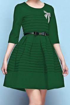 Solid Color Rhinestoned Bowknot Belt Half Sleeve Dress