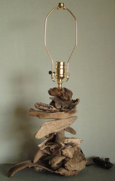 Driftwood lamp one of a kind handcrafted by SWEPTinFROMtheSEA