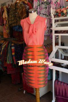 tenun rang rang skirt, orange pink rang rang skirt