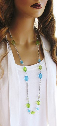 Long Blue and Green Necklace Long Beaded by RalstonOriginals