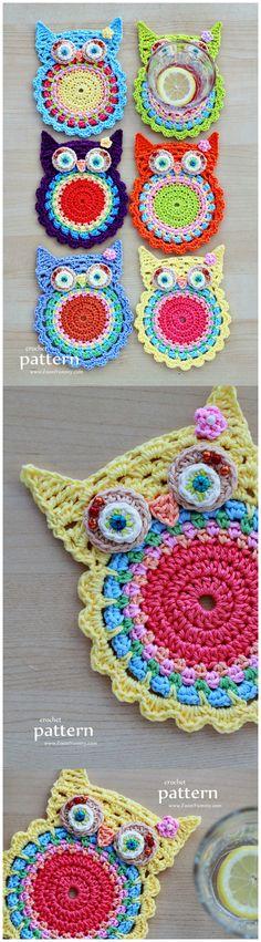 Crochet Owl Coasters (Appliques) Pattern