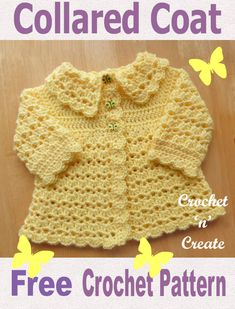 Free baby crochet pattern collared coat, made in V stitch and shells pattern. Free baby crochet pattern collared coat, made in V stitch and shells pattern. Crochet Baby Sweater Pattern, Crochet Baby Sweaters, Baby Sweater Patterns, Crochet Baby Cardigan, Crochet Coat, Baby Clothes Patterns, Baby Girl Crochet, Crochet Baby Clothes, Crochet Jacket