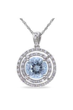 0.2ct Diamond and 2-1/3ct Sky Blue Topaz Pendant - Beyond the Rack