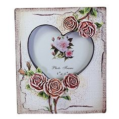 -- Find out more details by clicking the image: Gift Garden Heart Picture Frame with Rose Decor photo 4x6 or 4x4 inch at Christmas Decorations.