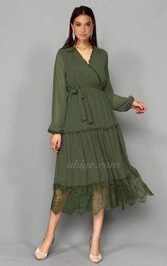 7094664f5754b Haki Şifon Güpür Detay Abiye Elbise