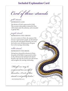 ON SALE NOW! $29.99 The Cord of Three Strands is a God's Knot original! It's a beautifully hand-crafted symbol to be used in your wedding ceremony. Cord of Th