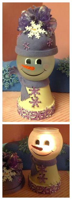 DIY Clay Pot Christmas Snowman Light Craft