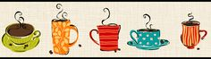 coffee cup kitchen wall paper border - Google Search
