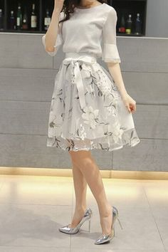 Chic Round Neck White Chiffon T-Shirt + High-Waisted Floral Skirt #Sheer #Floral #Bowknot #Skirt #Summer #Twinset #Fashion #Ideas