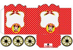 Minnie Rojo con Lunares: Caja con forma de Carruaje para Imprimir Gratis.