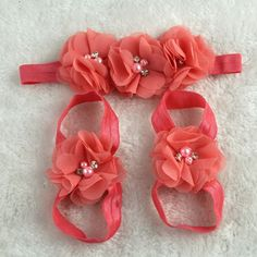 Colorful Foot Flower Barefoot Sandals Headband Set for Baby Infants Girls