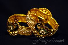 $50 SKU:100-3 B  SIZE: 2.4 BUT FITS 2.6 AS ITS A SCREW-TYPE  BANGLE  Flowery Peacock