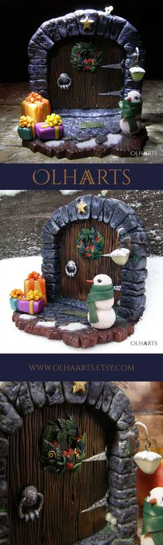 The magic door. New Year and Christmas decor. #OlhaARTS, #polymerclay, #polymer, #handmade, #Newyeardecor, #newyear, #souvenir, #OOAK #полимернаяглина, #ручнаяработа, #декор, #новогодний, #сувенир