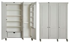 'Introducing Milestone Kitchens Free Standing Wardrobes. The 3 Door Wardrobe. These images show the wardrobe from the Swedish Style range. The interior of all the Wardrobes are interchangeable between the ranges.'