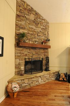 The Fireplace We Completely Ripped Out Old And Replaced It With A Stacked Stone Chose Light Color Because Balances