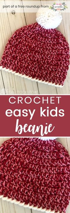 Crochet this quick easy beginner friendly kids slouchy hat for boys or girls from Heart Hook Home from my gifts to make in under 1 hour free pattern roundup!