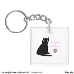 Cat People Are Cool People Key Chain Available on many more designs! Type in the name of this design in the search bar on my Zazzle Products page!  #cat #pet #illustration #key #chain #gift #idea #funny #comical #humorous #humor #art #people #cool