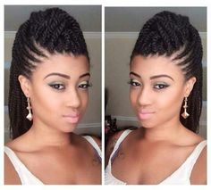 Mohawk: Flat twists on the side and singalese twists in the middle, hair added, long in the back. Cute!!!