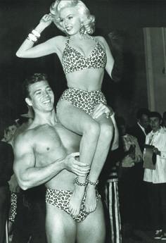 Jayne Mansfield and Mickey Hargitay as Tarzan and Jane at a Halloween party, 1956 #mimcomuse