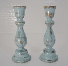 Beach Blue 2pc Candlestick Set/ Shabby Chic Decor/ by UpcycledMix, $15.00