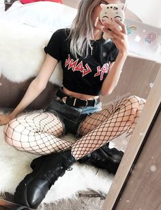 Sailor Moon wand necklace with graphic black tee, denim shorts, oversized fishnet tights & platform boots by magicaldemon