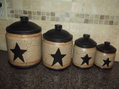 Primitive Set Of 4 Canisters ~ Tan Crackle ~ Black Star ~ Country Decor  #NaivePrimitive
