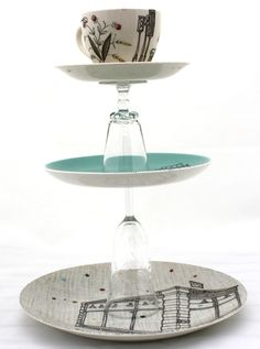 Turquoise 3 Tier Cake Stand by EstherCoombs on Etsy