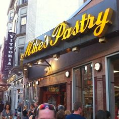 Mike's Pastry - a favorite spot for tourists in  Boston's Italian North End, Mike's Pastry is famous for their out-of-this-world cannoli!  This bakery is hard to miss...since you can spot people lining up for blocks away! Once inside, the smell of baked goods and the sight of so many different flavors of cannoli makes this place a dessert heaven.