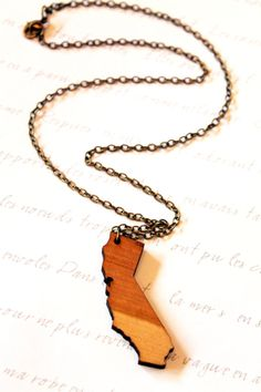 California Wooden State Necklace  ALL STATES by BezelAndZin