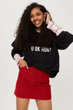**'U Ok Hun?' Sweatshirt by Love - Hoodies & Sweats - Clothing - Topshop