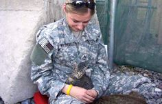 Christine Bouldin with Felix, Bagram Air Base. Soldier Refused to Leave Special-Needs Kitten Behind
