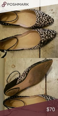 Zara Flats Zara Flats size 38/7.5 or 7. Very chic studded flat with animal print and hair detail. Bloggers fave, GORGEOUS! Worn twice, normal wear and tear to bottoms and a little on interior. Zara Shoes Flats & Loafers